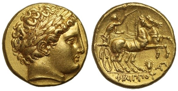 Figure 1. Phillip II, gold stater, 320 BC. These exceptional coins were minted in pure gold and continued to be made long after Phillip's death.